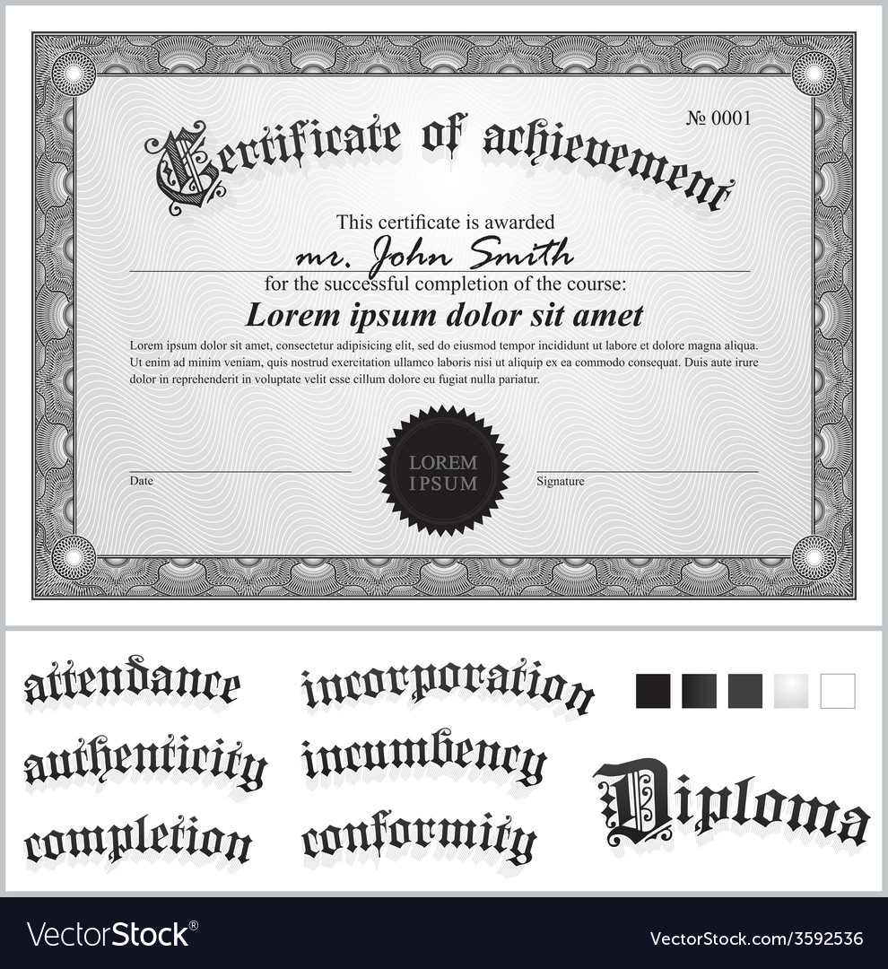 Black and white certificate template horizontal vector | Price: 1 Credit (USD $1)