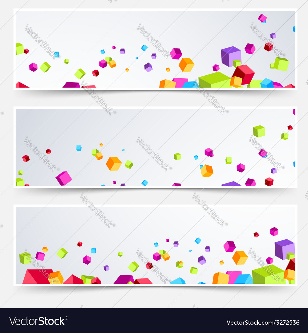 Bright cube web header footer set vector | Price: 1 Credit (USD $1)