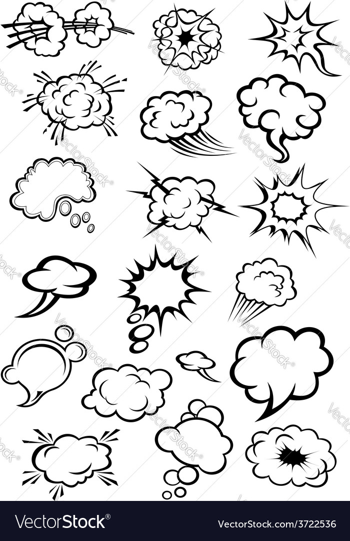 Comics explosion clouds and speech bubbles vector | Price: 1 Credit (USD $1)