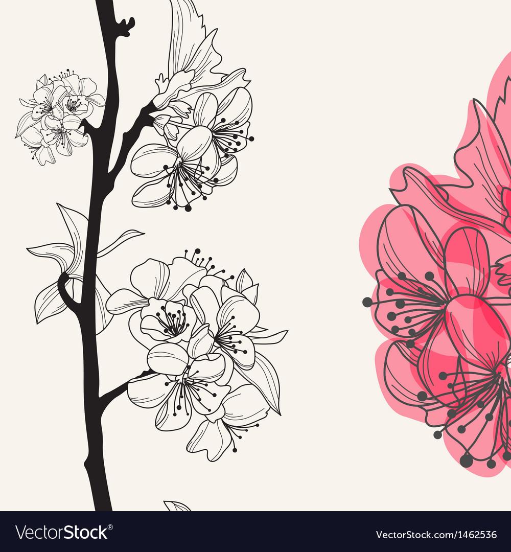 Decorative cherry blossom vector | Price: 1 Credit (USD $1)