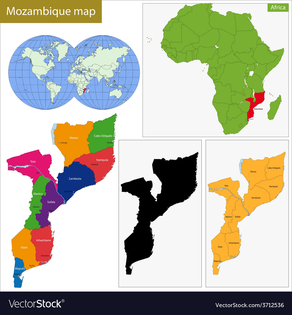 Mozambique map vector   Price: 1 Credit (USD $1)
