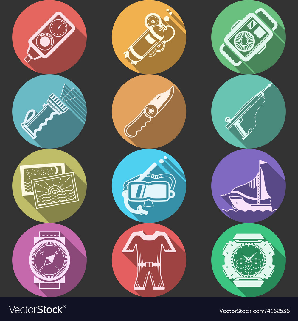 Scuba equipment flat color icons vector | Price: 1 Credit (USD $1)