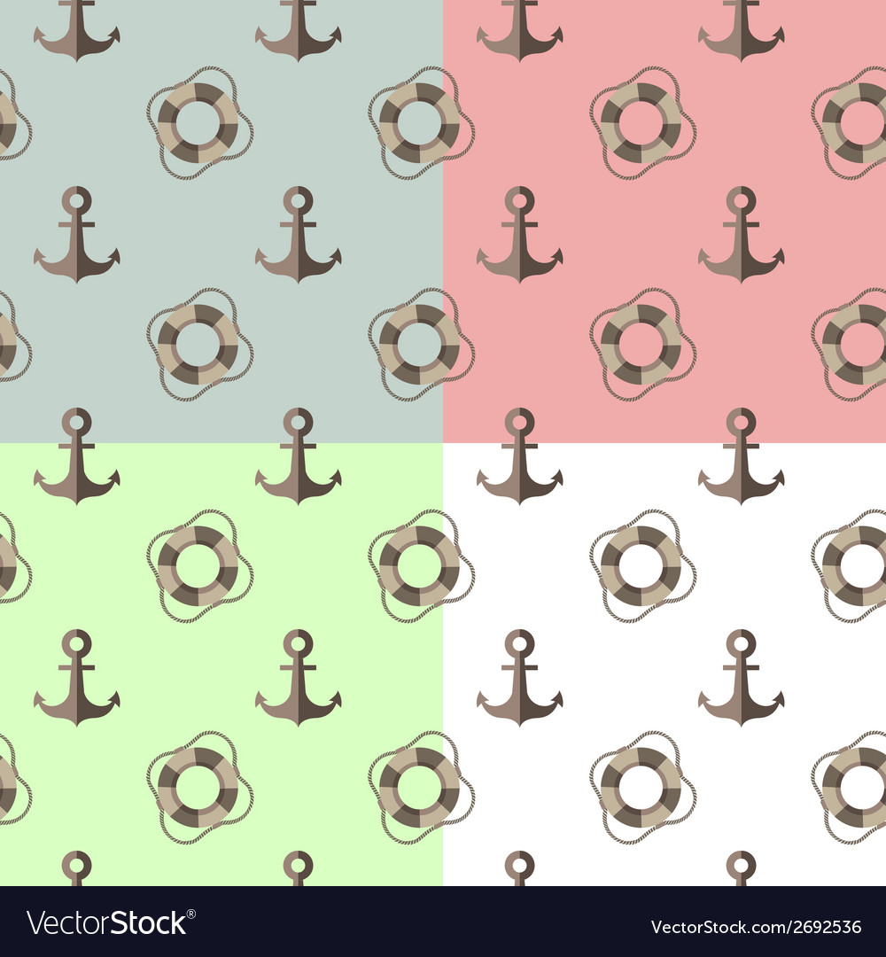 Sea seamless pattern with anchors and lifebuoys vector | Price: 1 Credit (USD $1)