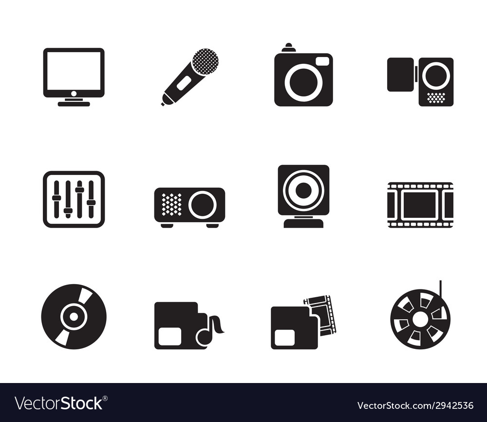 Silhouette media equipment icons vector | Price: 1 Credit (USD $1)