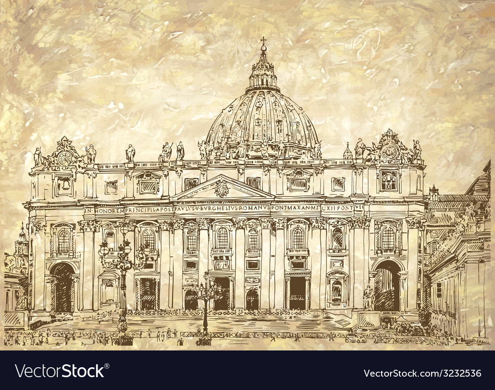 St peters cathedral rome vatican italy vector | Price: 1 Credit (USD $1)