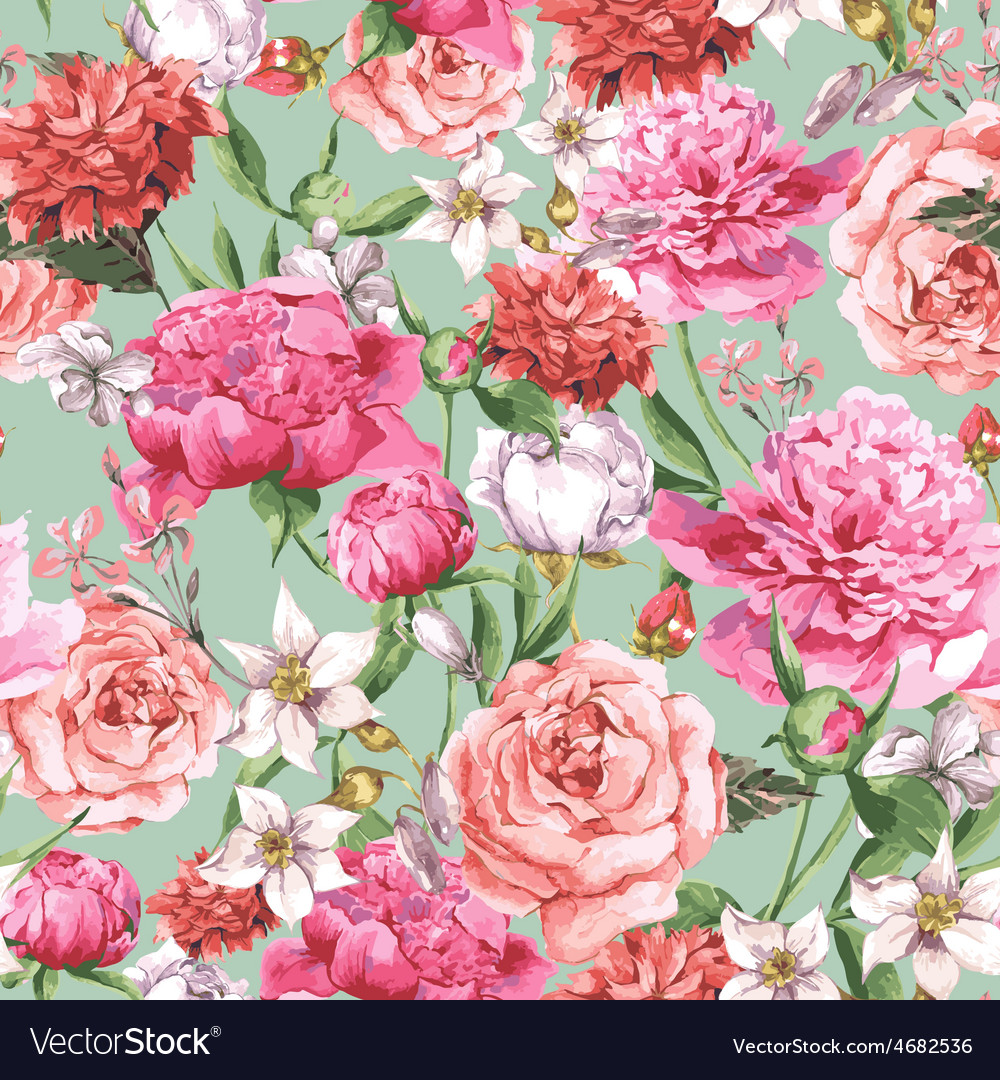 Summer seamless watercolor pattern with pink vector | Price: 1 Credit (USD $1)