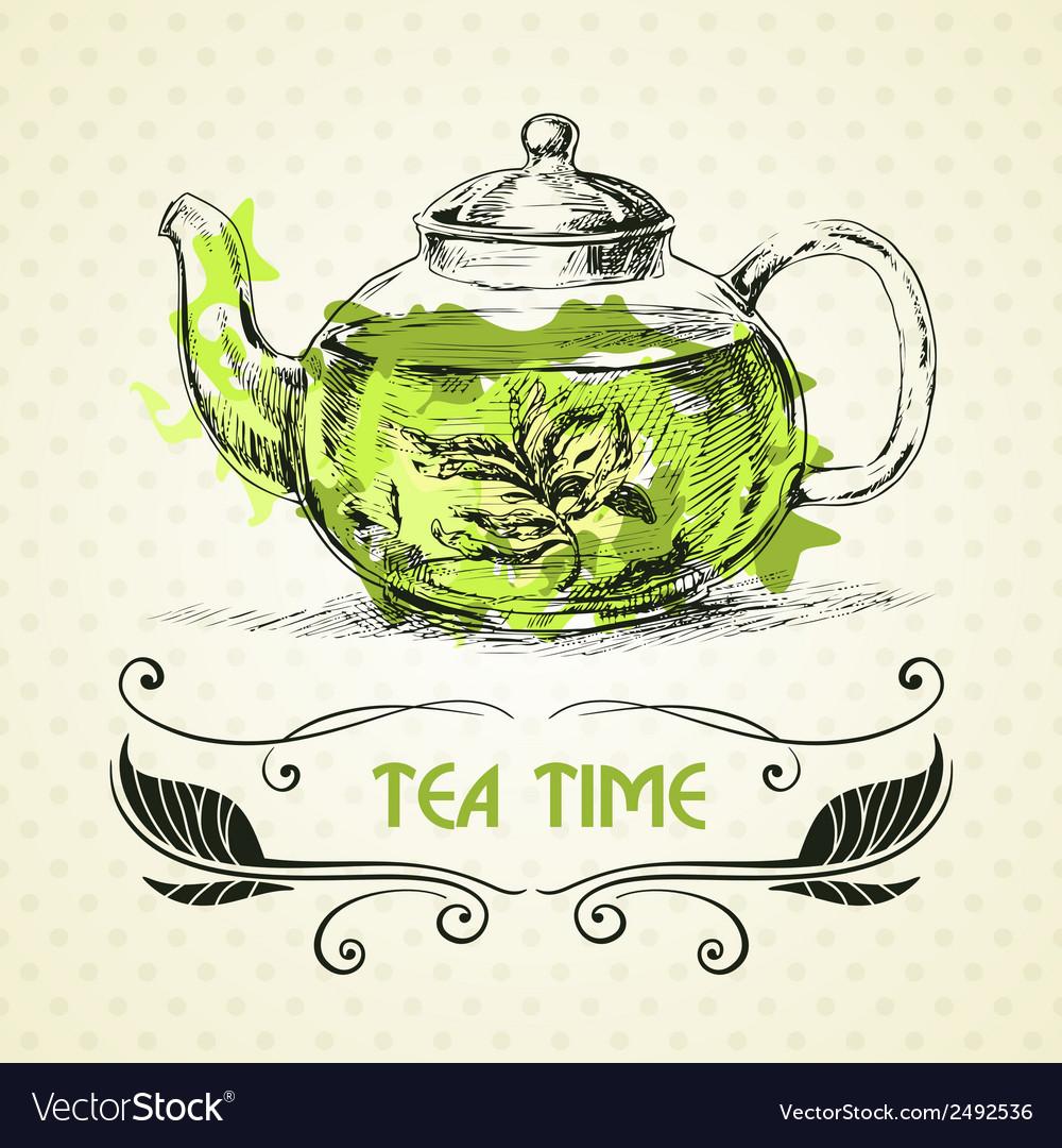Teapot green tea vector | Price: 1 Credit (USD $1)