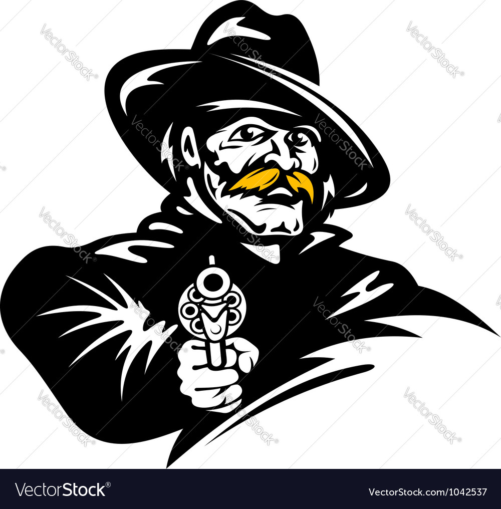 American cowboy with revolver gun vector | Price: 1 Credit (USD $1)
