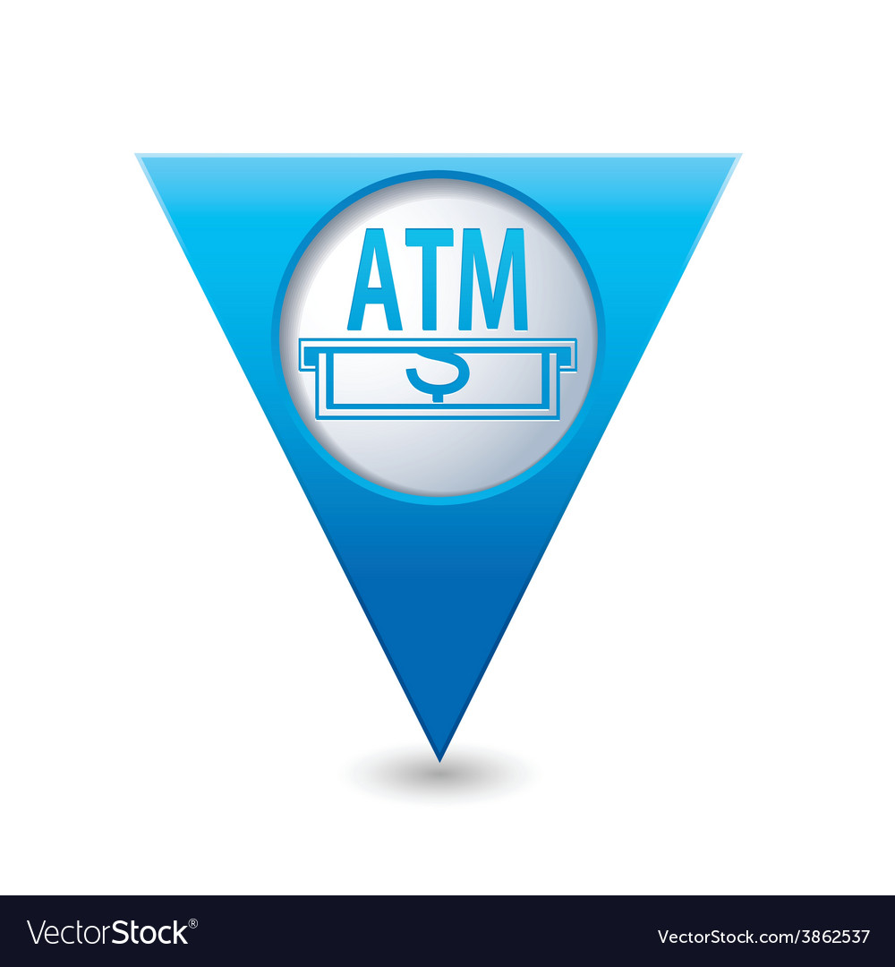 Atm blue triangular map pointer vector | Price: 1 Credit (USD $1)