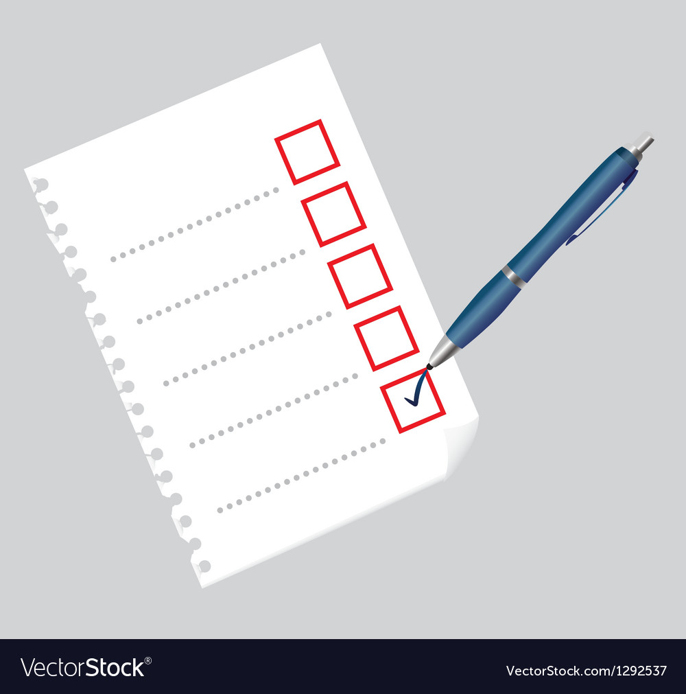 Checklist on paper sheet and pen vector | Price: 1 Credit (USD $1)