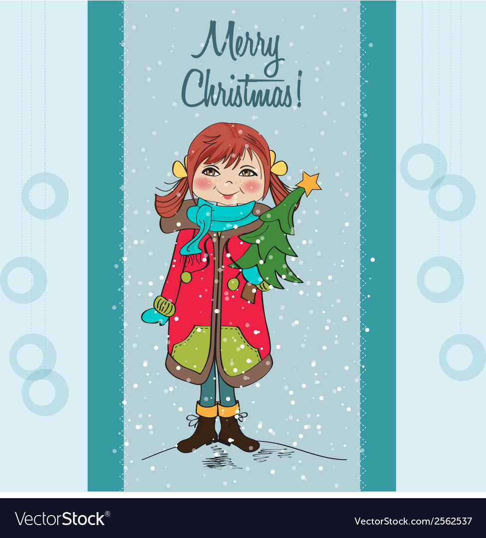 Cute and happy young girl with a christmas tree in vector | Price: 1 Credit (USD $1)
