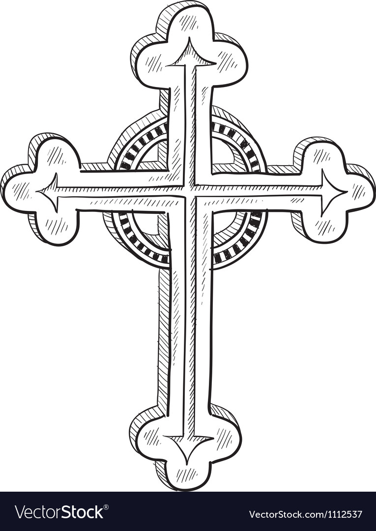 Doodle catholic cross vector | Price: 1 Credit (USD $1)