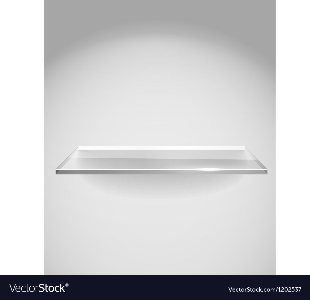 Empty advertising glass shelf withh a spot lignt vector | Price: 1 Credit (USD $1)