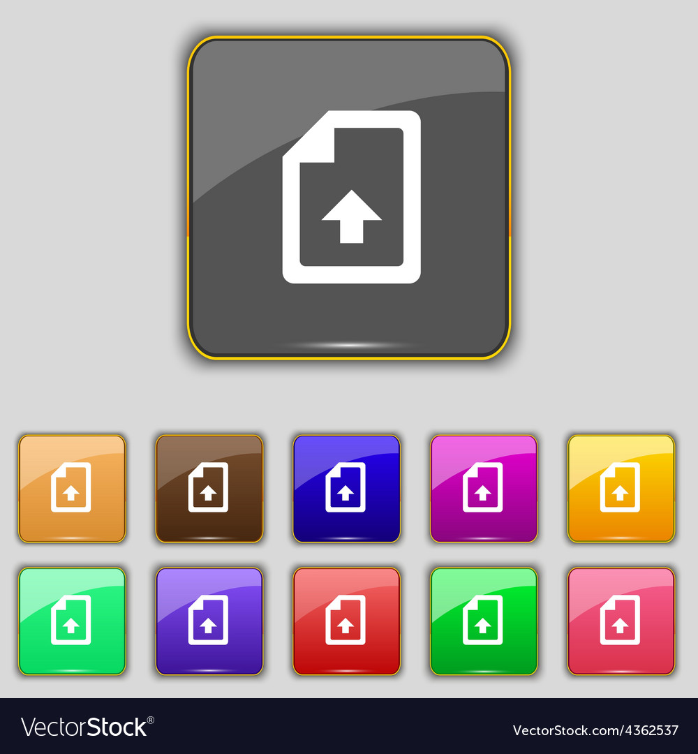 Export upload file icon sign set with eleven vector | Price: 1 Credit (USD $1)