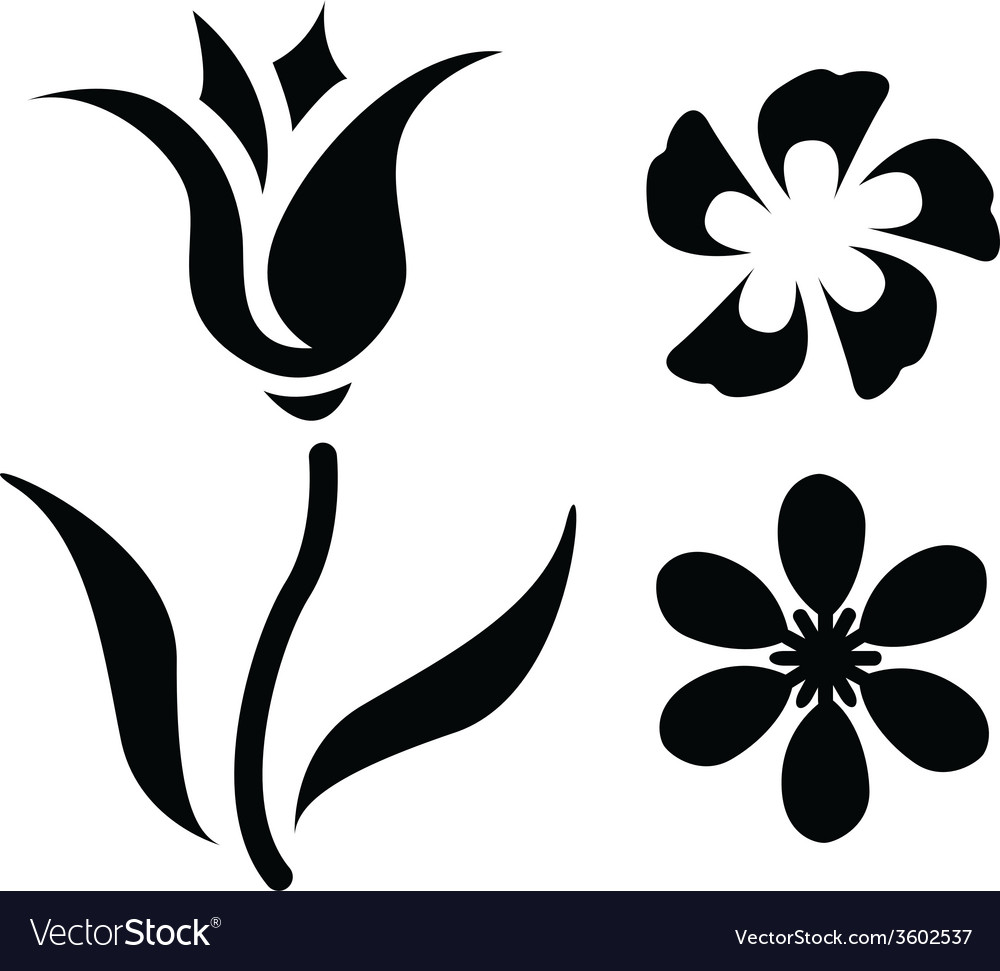 Flower silhouettes vector | Price: 1 Credit (USD $1)
