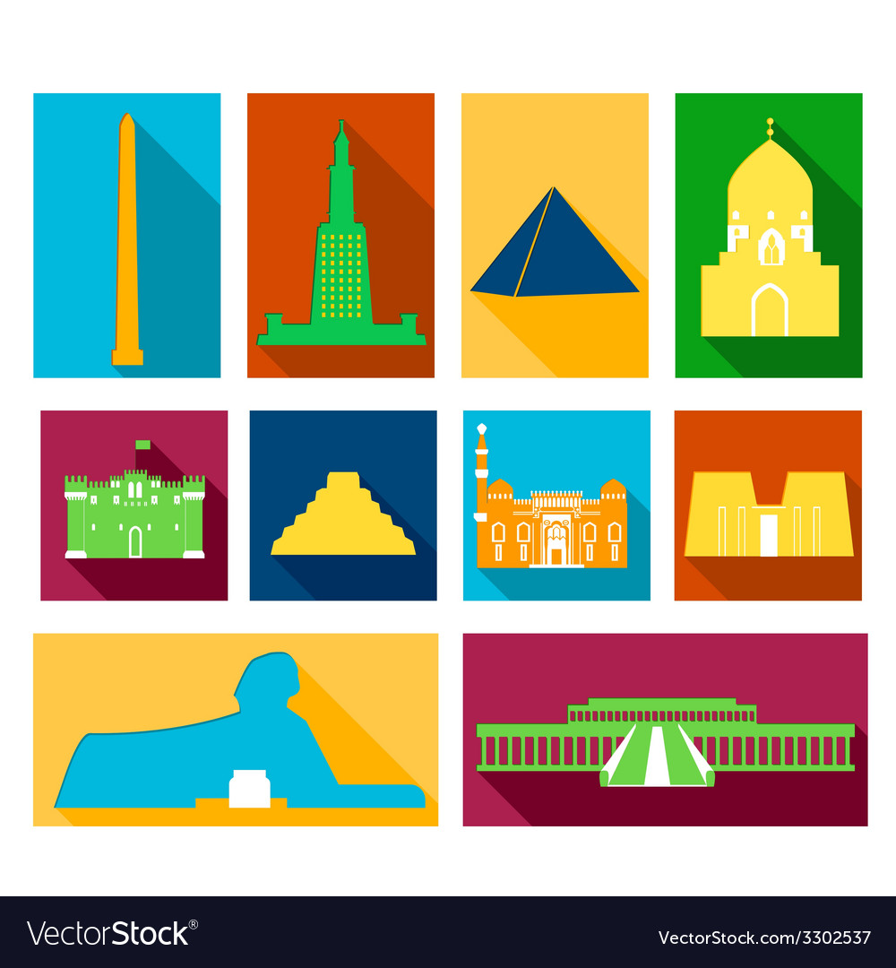Landmarks of egypt vector | Price: 1 Credit (USD $1)