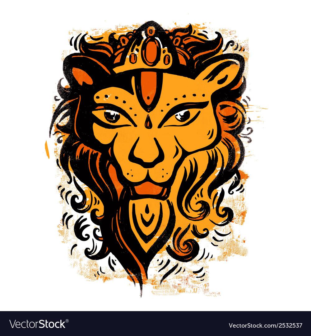 Lion head ethnic pattern vector | Price: 1 Credit (USD $1)