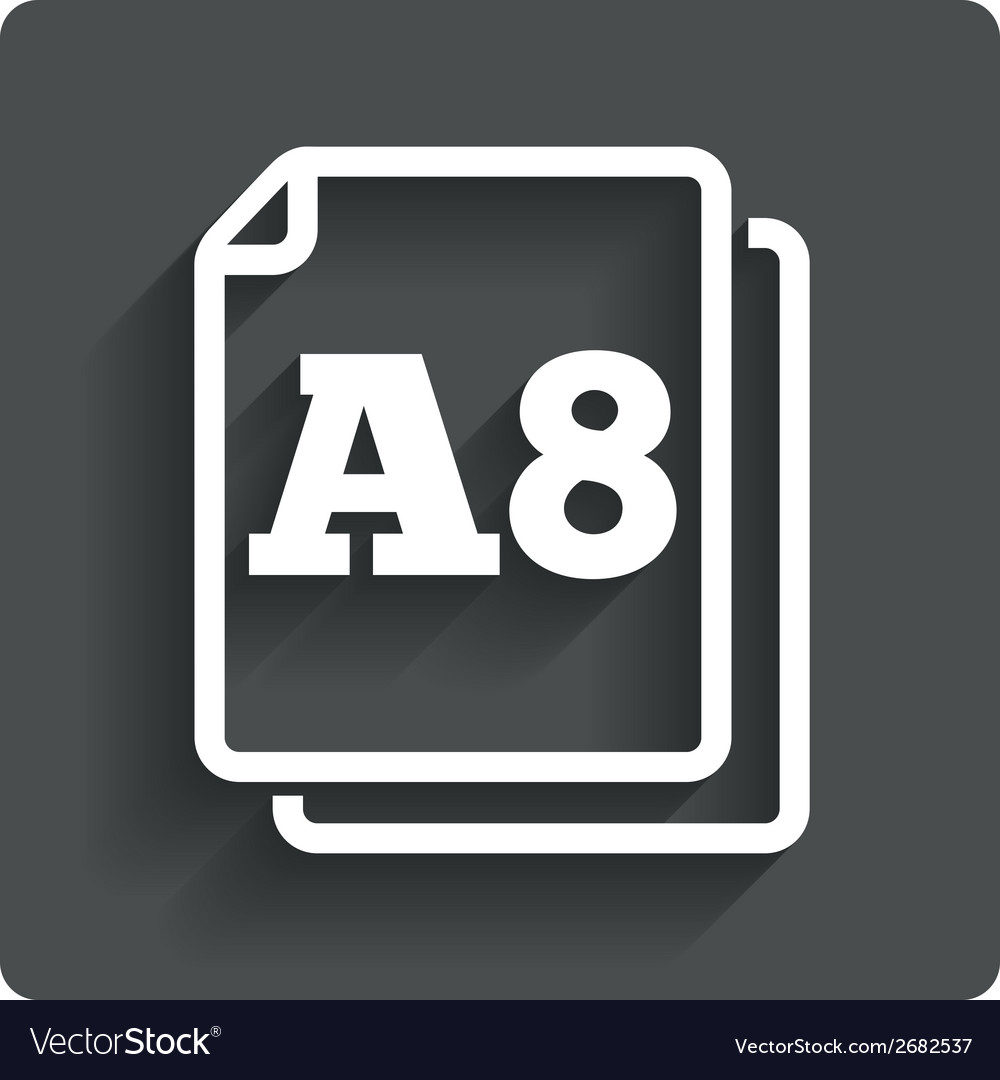 Paper size a8 standard icon document symbol vector | Price: 1 Credit (USD $1)