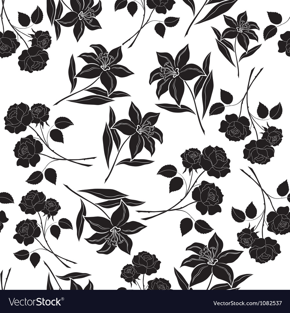 Seamless floral background black silhouettes vector | Price: 1 Credit (USD $1)