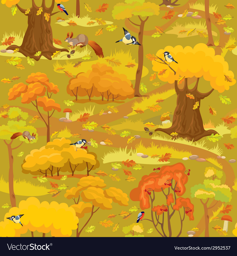 Seamless pattern - autumn forest landscape vector | Price: 1 Credit (USD $1)