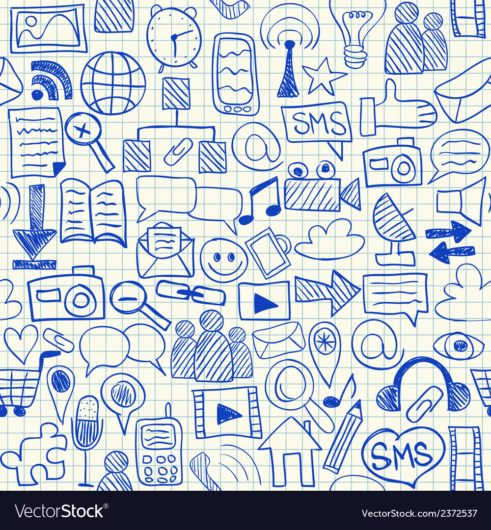 Social media seamless pattern vector | Price: 1 Credit (USD $1)