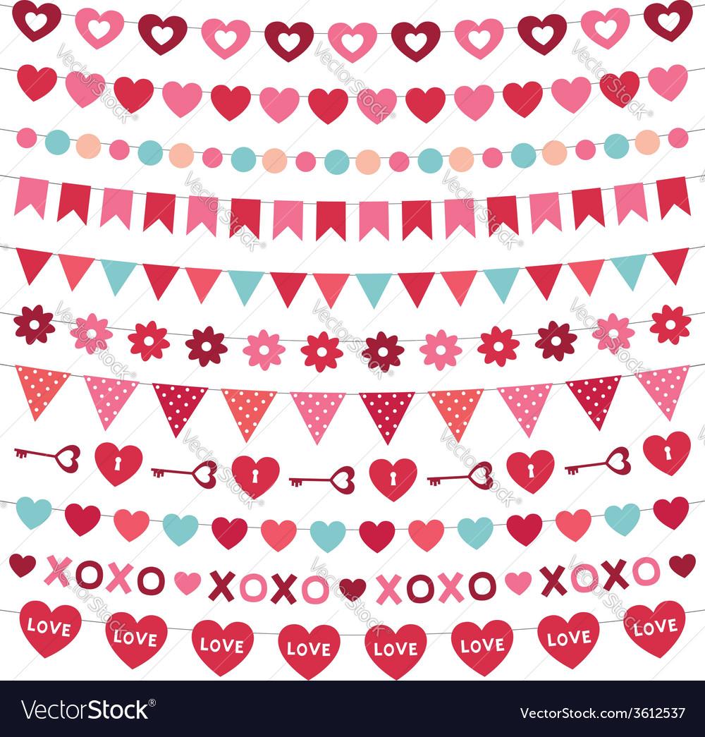 Valentines day decoration set vector | Price: 1 Credit (USD $1)