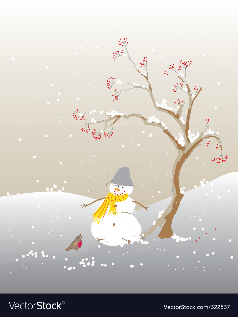 Winter snowman vector   Price: 1 Credit (USD $1)