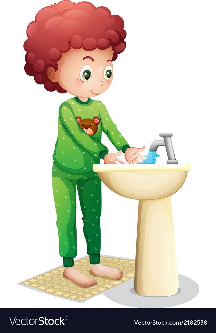 A young boy washing his hands vector | Price: 1 Credit (USD $1)