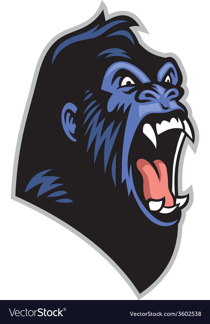 Angry gorilla head vector | Price: 3 Credit (USD $3)