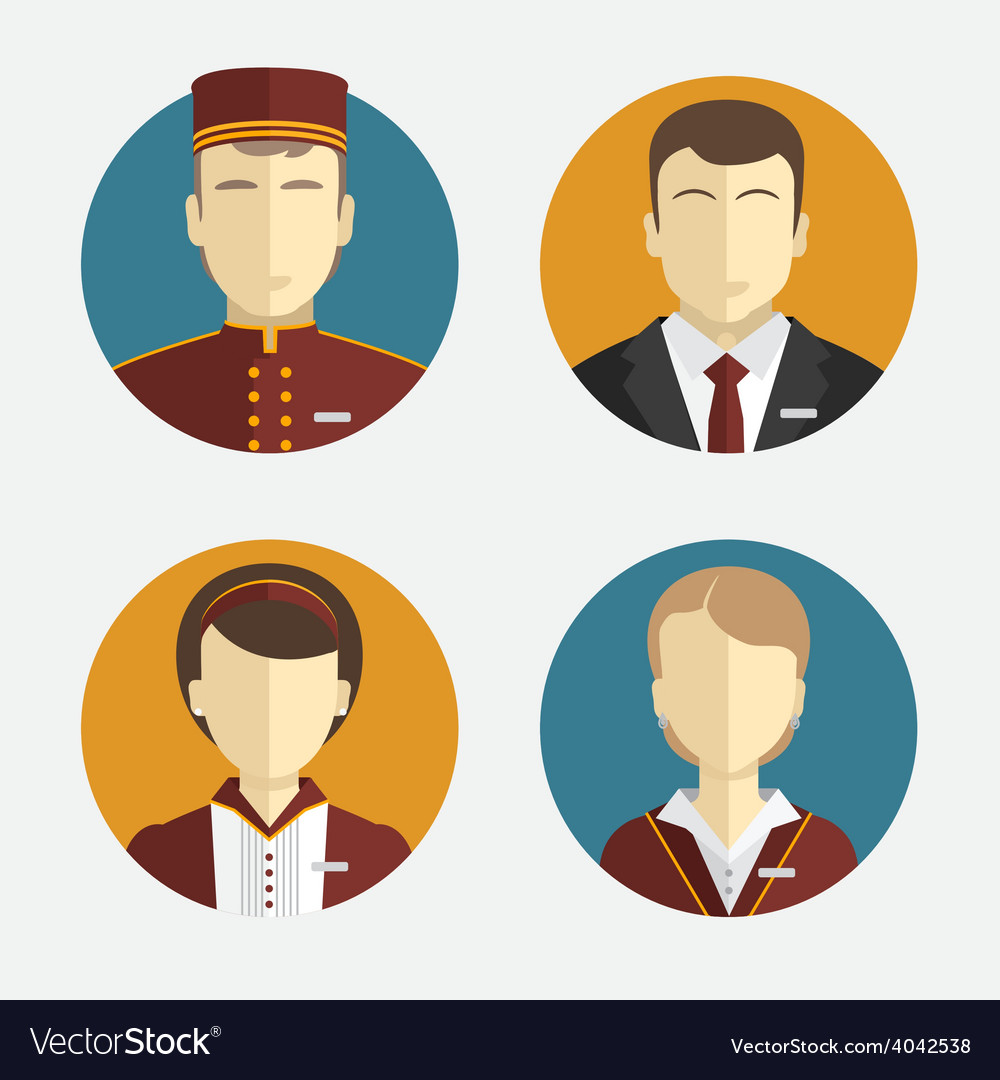 Avatars people the hotel staff reception vector | Price: 1 Credit (USD $1)