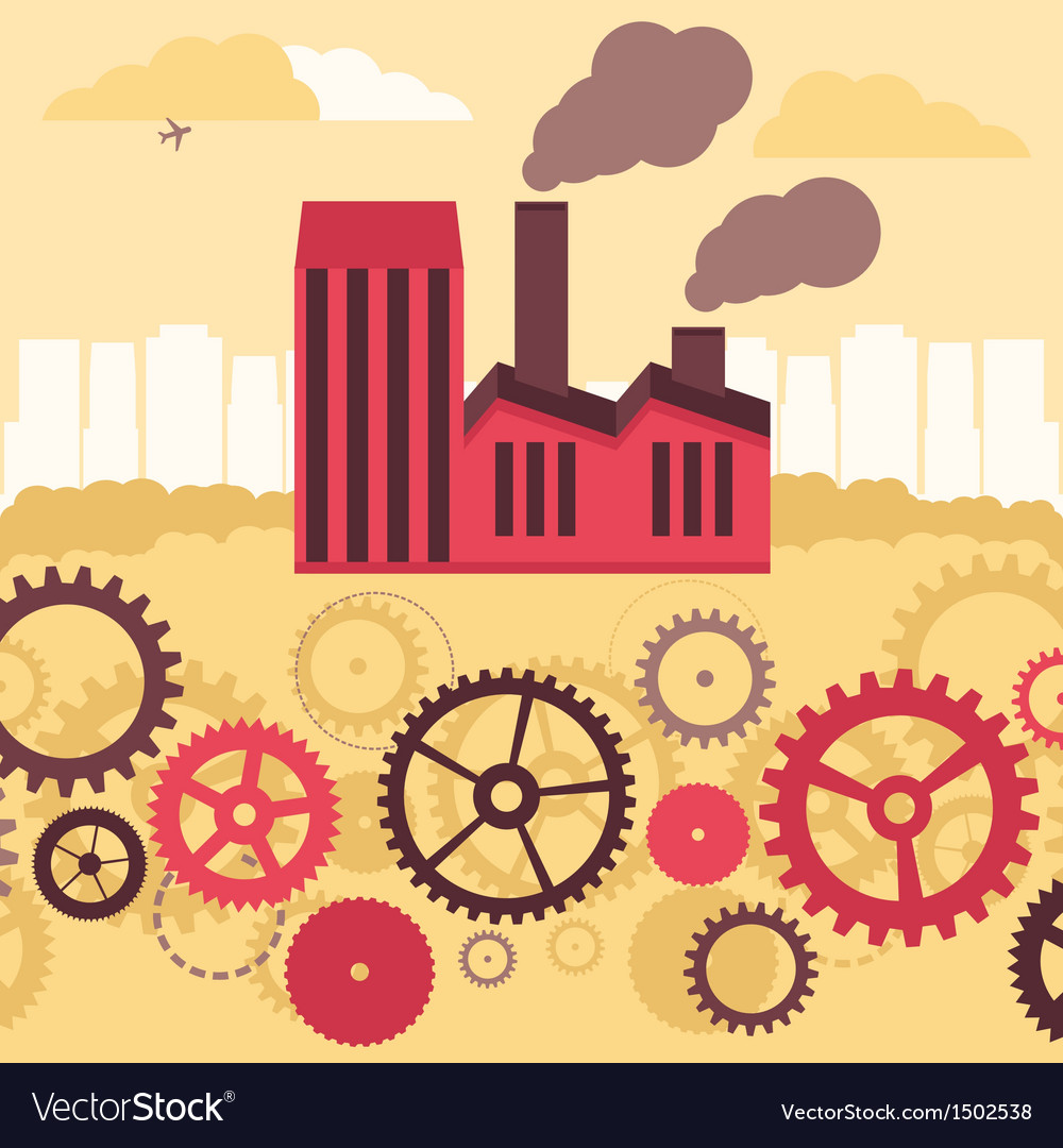 Concept - factory building and landscape vector | Price: 3 Credit (USD $3)