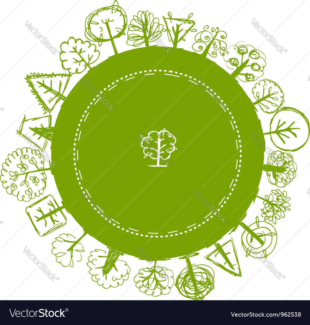 Frame with green sketch of different trees vector | Price: 1 Credit (USD $1)