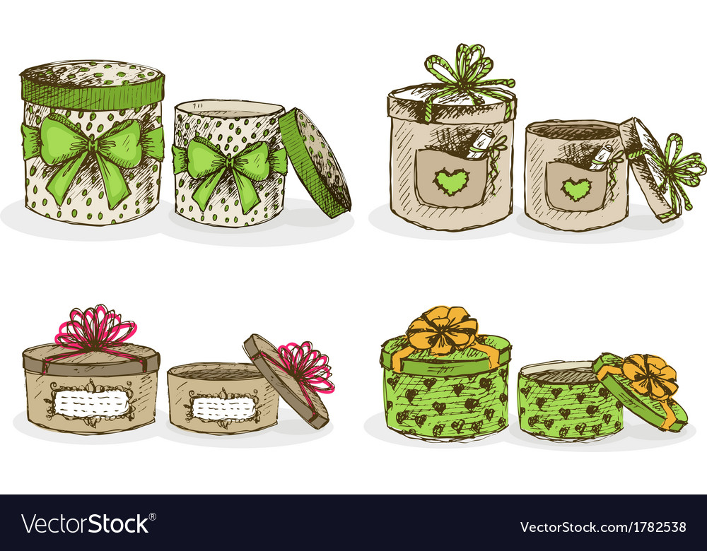 Open and closed hat boxes with decor vector | Price: 1 Credit (USD $1)