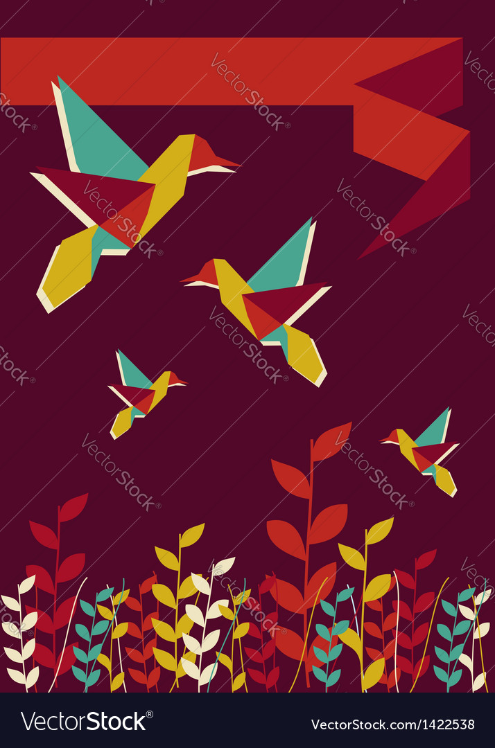 Origami hummingbird spring time vector | Price: 1 Credit (USD $1)