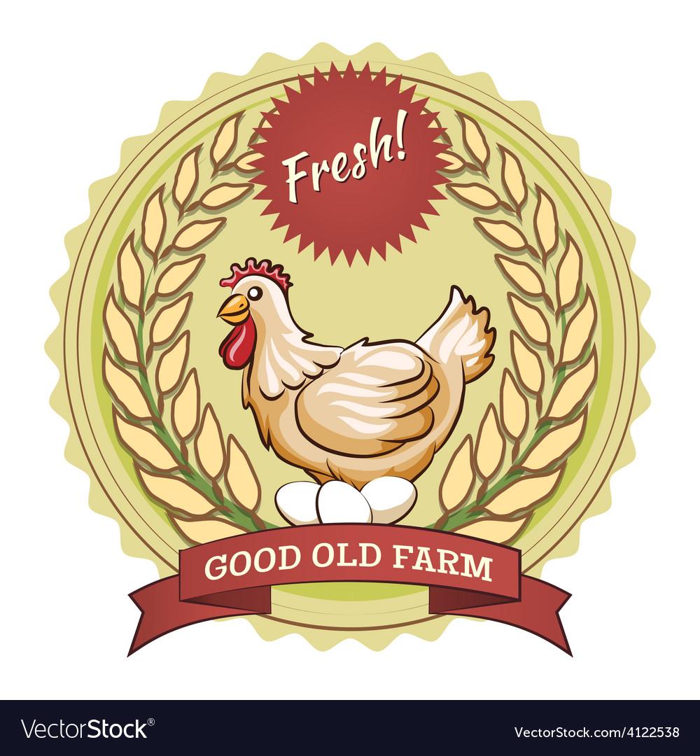 Poultry farm badge chicken and eggs vector | Price: 1 Credit (USD $1)