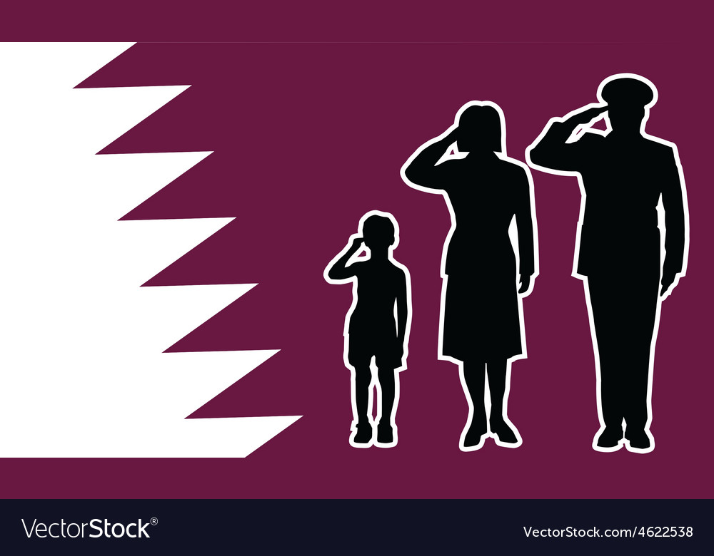 Qatar soldier family salute vector | Price: 1 Credit (USD $1)