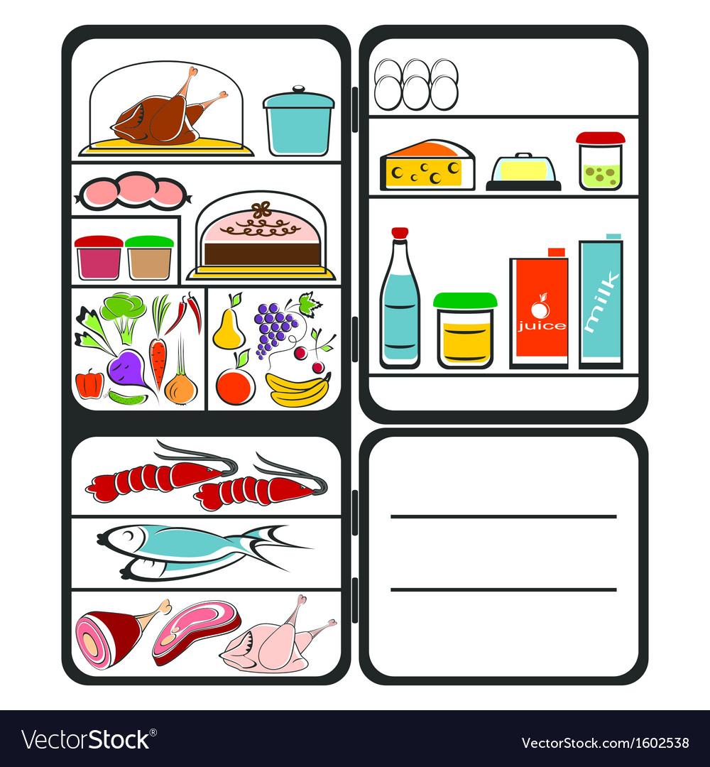 Refrigerator with food vector | Price: 1 Credit (USD $1)