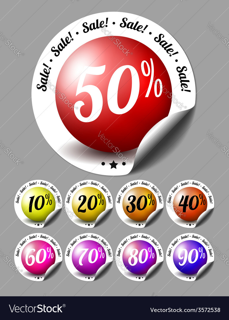 Sale stickers with percents vector | Price: 1 Credit (USD $1)