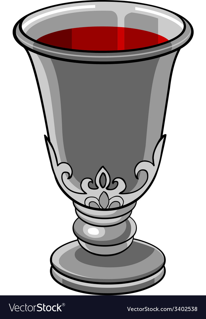 Silver goblet with wine vector | Price: 1 Credit (USD $1)