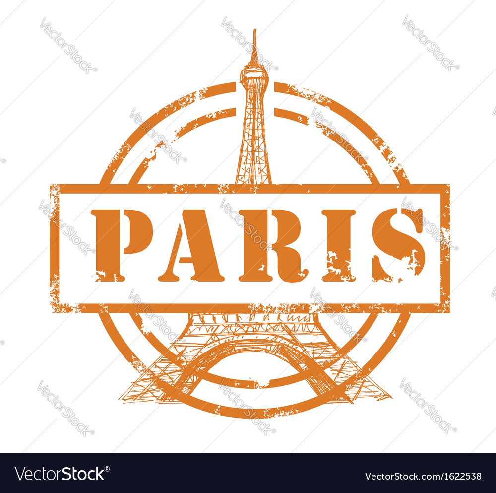 Stamp with eiffel tower vector | Price: 1 Credit (USD $1)
