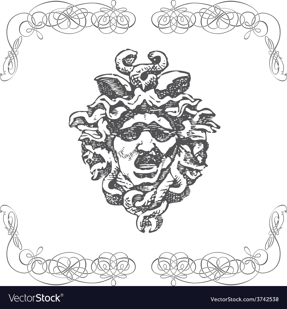 Vintage artistic print retro mythology design vector | Price: 1 Credit (USD $1)