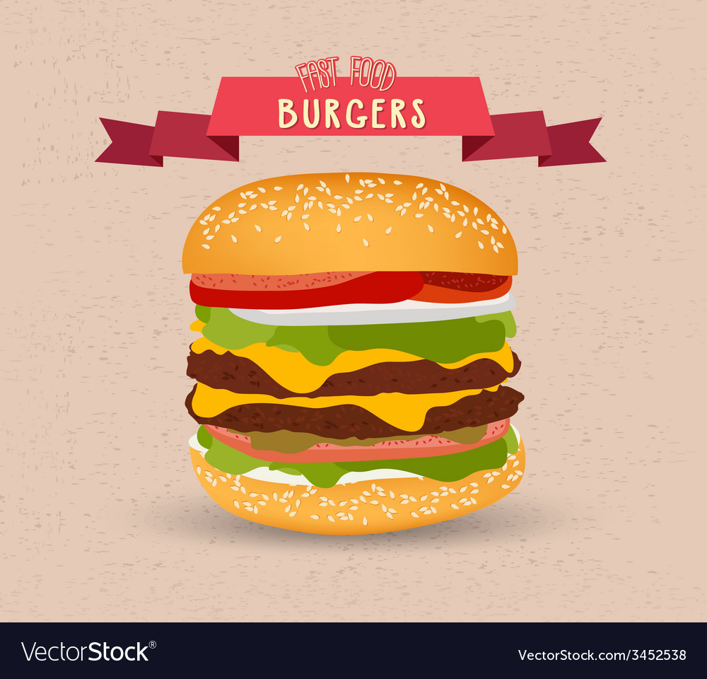 Vintage burger poster design vector