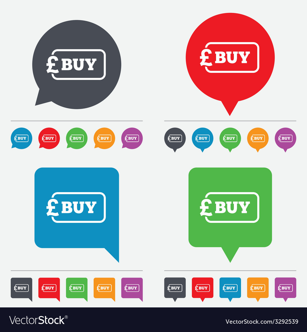 Buy sign icon online buying pound button vector | Price: 1 Credit (USD $1)