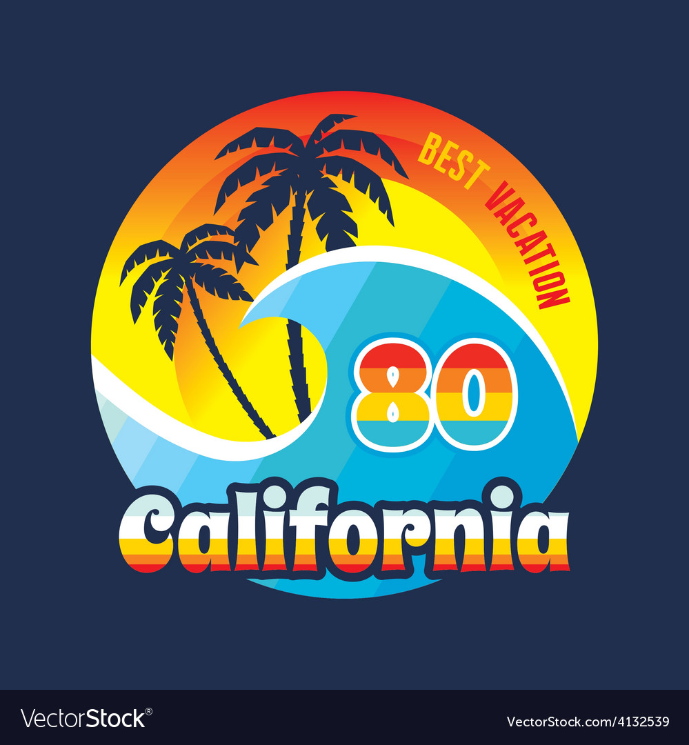 California 80 - surfing and vacation - badge vector | Price: 1 Credit (USD $1)