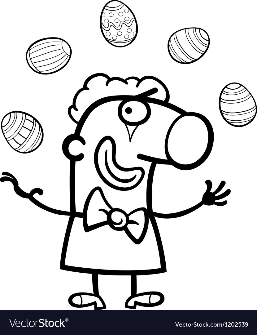 Cartoon clown juggling easter eggs for coloring vector | Price: 1 Credit (USD $1)