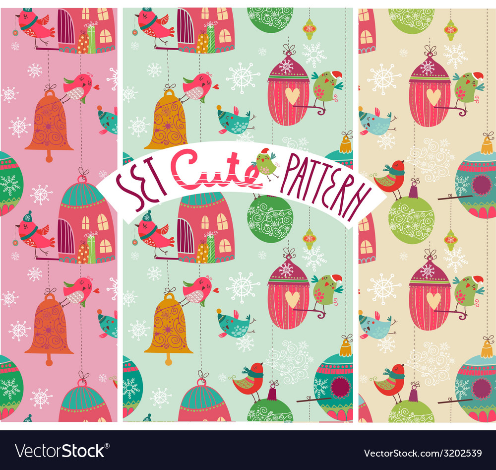 Christmas birds pattern vector | Price: 1 Credit (USD $1)