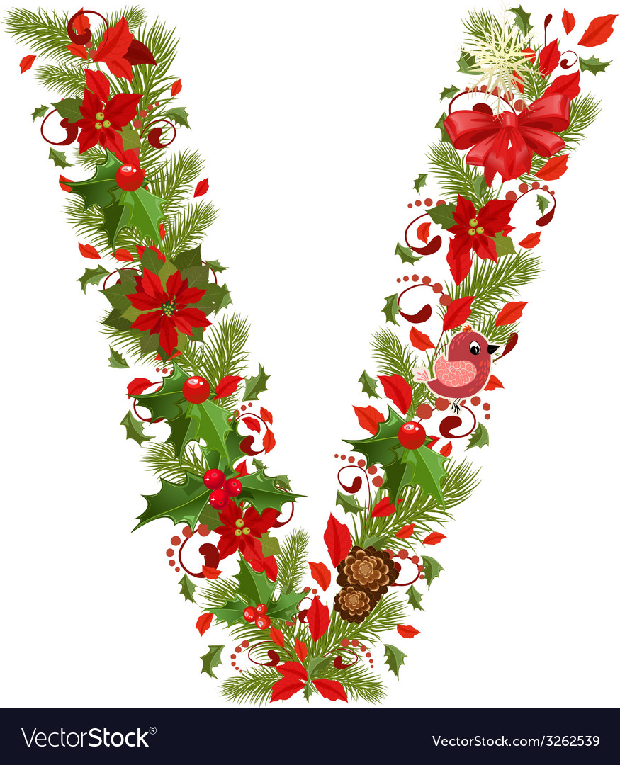 Christmas floral tree letter v vector | Price: 1 Credit (USD $1)