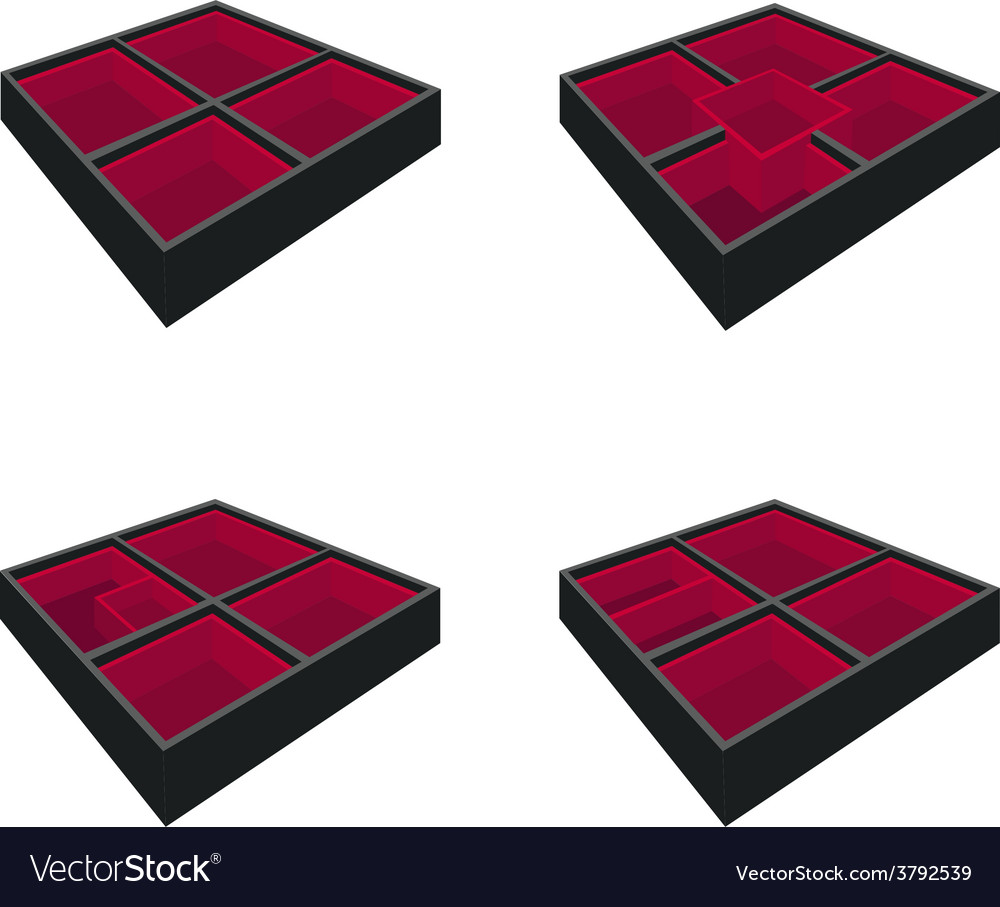 Four empty bento box on white background vector | Price: 1 Credit (USD $1)