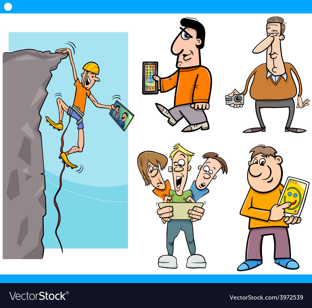 People and technology cartoon set vector | Price: 1 Credit (USD $1)