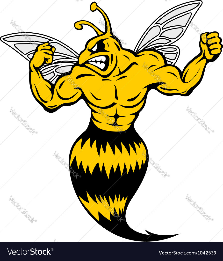 Powerful and danger yellow jacket vector